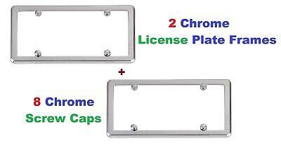 2 UniversalChrome License Plate Frames + 8 Chrome Screw Caps for Cars New