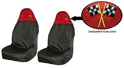 RED / BLACK, Waterproof / Resistant Front Seat Covers Pair. Chequered Flag Logo