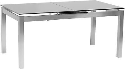 Extendable Dining Table With Tempered Glass Top And Brushed Stainless Steel Base