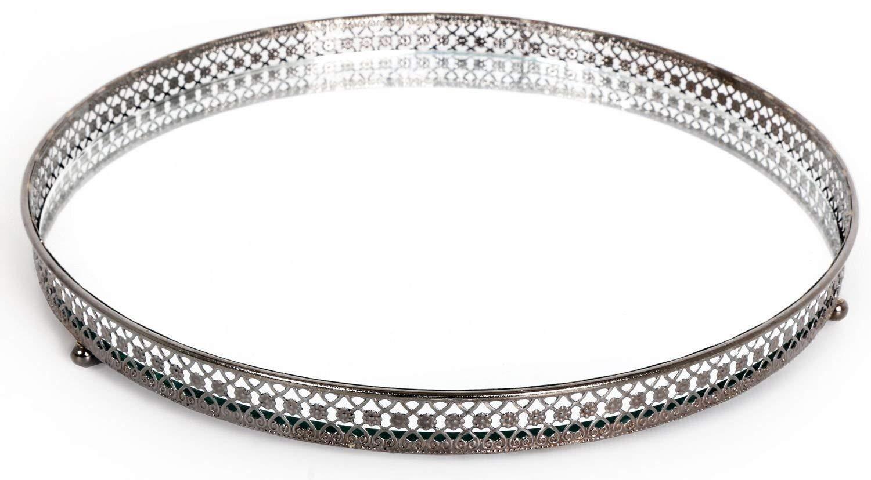 Mirror Glass Metal Antique Decorative Silver Candle Plate Di
