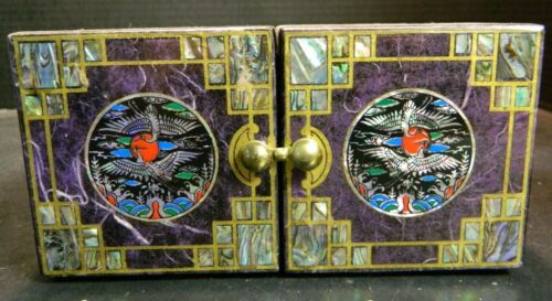 Vintage Oriental Inlaid Mother Of Pearl Wooden Folding Jewelry Box Excellent Con