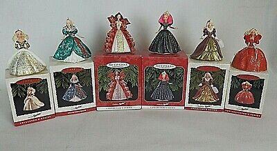 """Lot 6 Hallmark Keepsake Barbie Christmas Ornaments """"Holiday Barbie"""" 1993-97"""