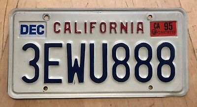 "CALIFORNIA PASSENGER AUTO LICENSE PLATE "" 3 EWU 888 "" REPEATING 8'S LUCKY ASIAN"