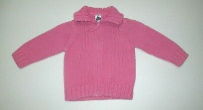 INFANT GIRLS ZARA BABY PINK ZIPPER CARDIGAN SWEATER SIZE 3-6 MONTHS (Pink Baby Cardigan Sweater)