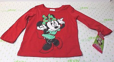 Disney Infant  Girls Minnie Mouse Red Glitter T-Shirt Holiday Tee Size 18 Months