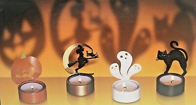 Shadow Casting Metal Candle Tealight Holder Set Of 4 Witch Ghost Cat Pumpkin  (Cast Of Halloween 4)