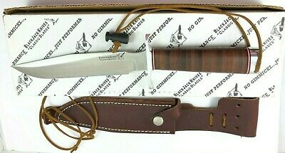 Blackjack USA Fixed Blade Stacked Leather Hunting Knife + Sheath & Box 3890-LTQ