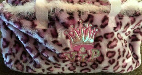 Club Libby Lu Pink Fuzzy Animal Print VIP Duffel Bag w/ Feathers - Hard to Find!