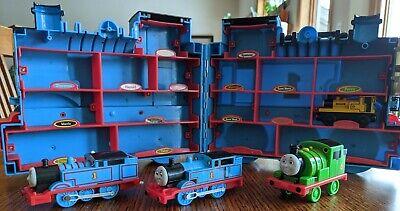 Thomas Train Trackmaster engine, pullback Percy, & Duncan w/ storage organizer