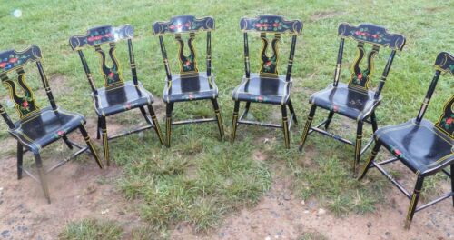 Set Of 6 Paint Decorated Black Plank Seat EBERSOL Chairs PA. Rustic Primitive