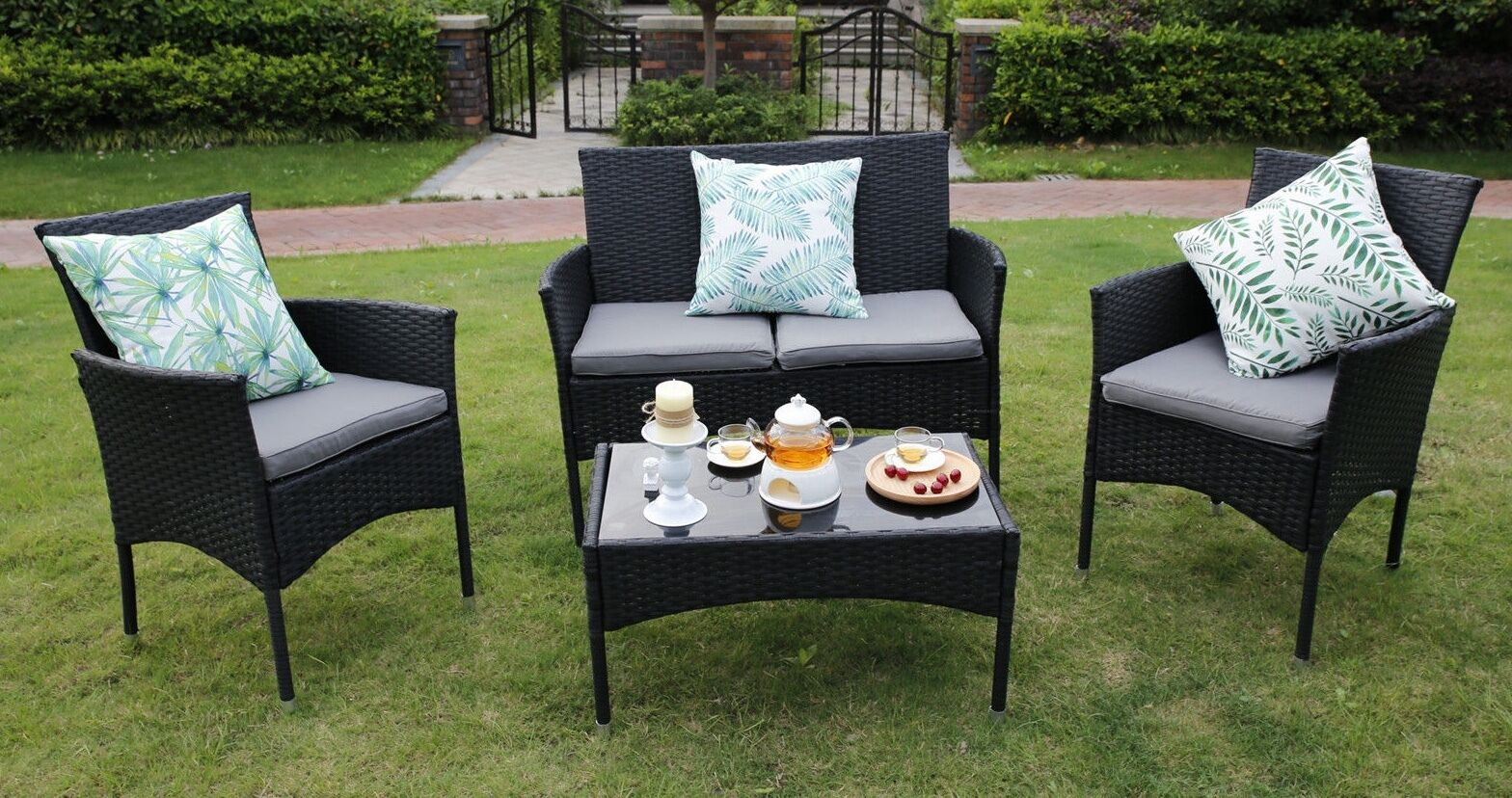 Garden Furniture - 3/4-Piece Outdoor Rattan Garden Furniture Conservatory Sofa Set Table and Chairs
