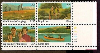 ALLY'S STAMPS US Plate Block Scott #2160-3 22c Int'l Youth Year [4] MNH F/VF STK ()