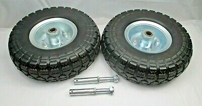 Two 10 Tubeless Never Flat Tires W Axles For Generator Hand Truck Dolly