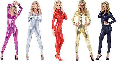 Metallic Costume (ADULT METALLIC UNITARD STRETCH JUMPSUIT SILVER GOLD BLACK CATSUIT COSTUME)