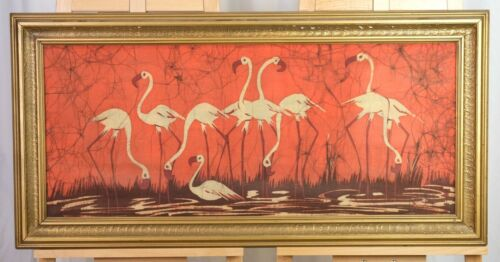 VGUC+ Vintage Artist Signed South Asian Flamingoes Batik in Gilded Wood Frame