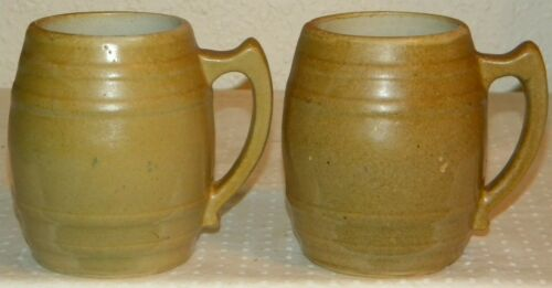 Lot of 2 RARE 20 oz. UHL POTTERY CO. BARREL MUG Huntingburg IND. stein stoneware