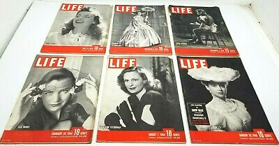 Lot of 6 Vtg 1940s LIFE Magazine All MOVIE STAR COVERS Great Advertising