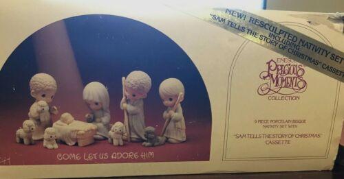 Vintage 1986 Precious Moments Come Let Us Adore Him 9 Piece Nativity Set