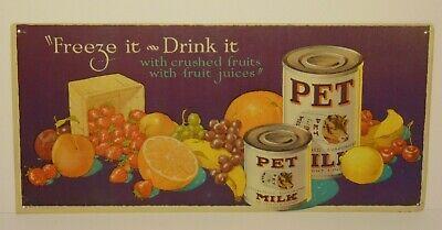 "19 1/2"" VINTAGE 1980s PET MILK COW FARM DECOR GRAPHIC TIN METAL ADVERTISING SIGN"