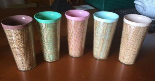"Set of 5 Vintage Raffiaware Melmac Tumblers Woven Burlap Plastic 6"" Tall Cups"