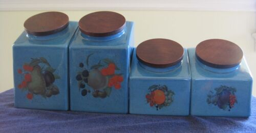 Vintage BLUE Hyalyn Kitchen Canister Set of 4 w/ Painted Fronts & Wooden Lids