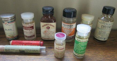 Lot of 10 ~ Pharmacy Apothecary Bottles ~ Parke Davis Merrell Ayerst Carnick NY