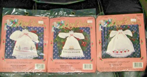 LOT 3 VTG Bucilla Angel Babies Holiday Christmas Stamped Cross Stitch Kits NOS