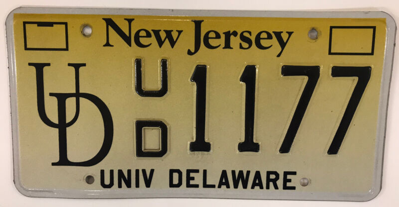 NJ UNIVERSITY DELAWARE license plate UD YoUDee Newark Fightin' Blue Hens Udel DE