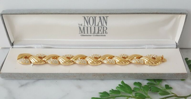 NOLAN MILLER Glamour Collection Gold Tone Clear Crystal Rhinestone Bracelet