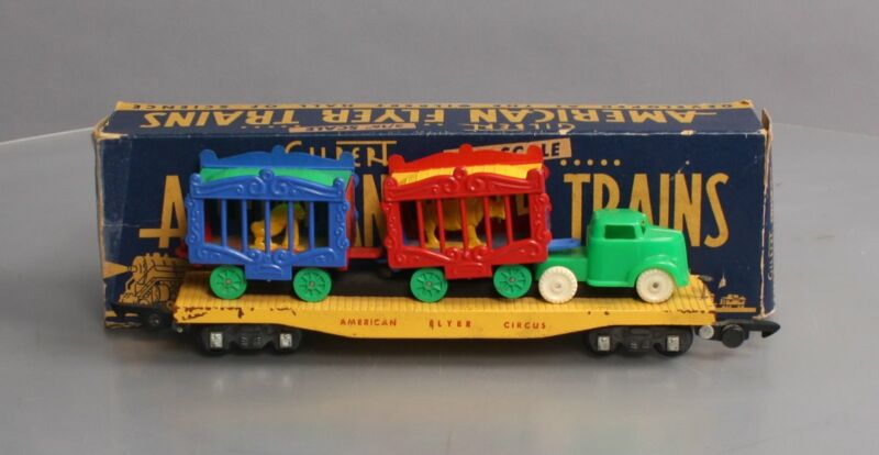 American Flyer 643 Vintage S Circus Flat Car w/ Cages & Truck Tractor/Box