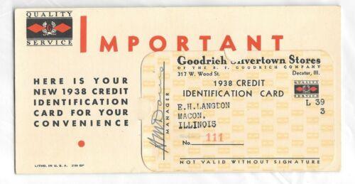1938 Goodrich Silvertown Tire Stores Credit Card Macon Illinois & Insert Originl