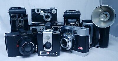 10 USA American Vintage Film Camera Collection ANSCO KODAK ARGUS BOLSEY SUNBEAM