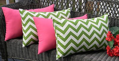 Set of 4 Outdoor Pillows ~ Green Chevron and Solid Hot Pink Decorative Rectangle ()