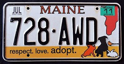 """MAINE """" ADOPT PETS - CAT DOG HORSE BIRD """" 728 AWD ME Specialty License Plate"""