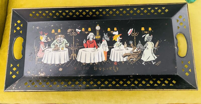 Fantastic Vtg Mid Century Modern CAFE SOCIETY Hand Painted Tole Dogs Tray! RARE!