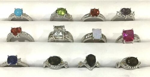 WHOLESALE LOT! New Sterling Silver 12 Assorted Rings #9 - Free Ship!