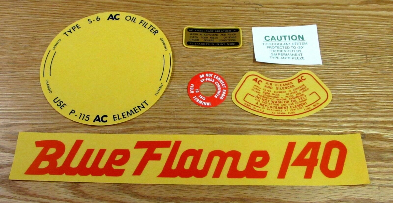 1956 1957 CHEVY ENGINE COMPARTMENT DECAL SET 6 CYL BLUE FLAME 140 ** USA MADE **