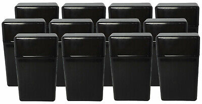 12 Pack Black Flip Top Hinged Lid Sectioned Cigarette Case for 100's - 2607 Black Flip Top Lids