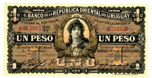 Uruguay  … P-3a ... 1 Peso … 1896 ... ch*XF*  Prefix