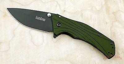 1870Olblk Kershaw Knockout Speed Safe Green Aluminum Handle Plain Blade New Blem