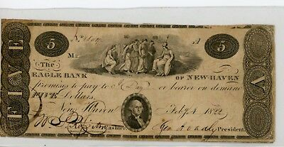 New Haven, CT - The Eagle Bank $5 Feb. 4, 1822.