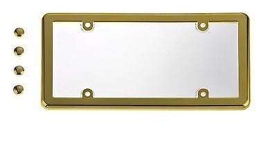 UNBREAKABLE Clear License Plate Shield Cover + GOLD Frame for BENTLEY