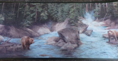 Wallpaper Border Dado Brown Bears Hunting / Playing in Forest River Wilderness