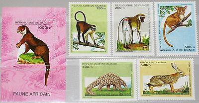 GUINEA 1995 1533 37 BLOCK 495 1280 1285 AFRICAN ANIMALS TIERE FAUNA NATURE MNH