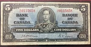 1937 OSBORNE TOWERS $5 BILL Canadian banknote