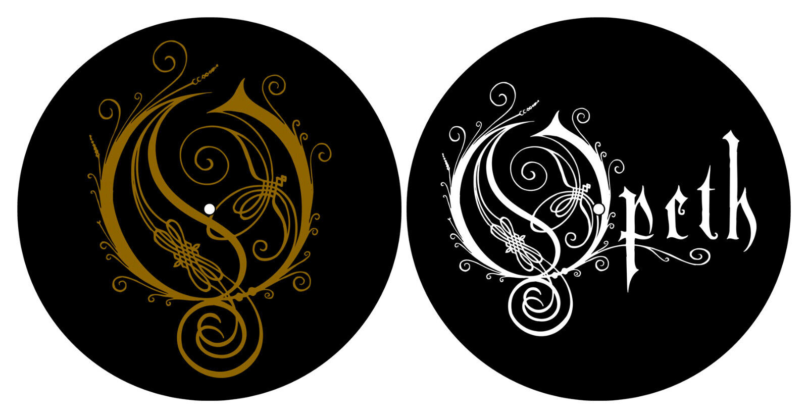 OPETH DJ SLIPMAT FILZMATTE GOLD & WHITE LOGO - 2er SET