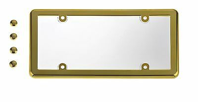 UNBREAKABLE Clear License Plate Shield Cover  GOLD Frame for NISSAN