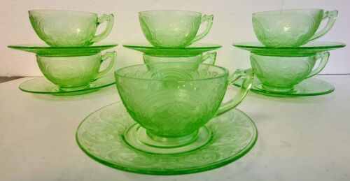 7 Indiana Glass HORSESHOE No. 612 Green Cup and Saucer Sets