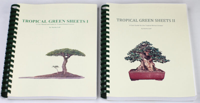 Tropical Green Sheets One & Two.  Comprehensive Books For Tropical Bonsai Care.