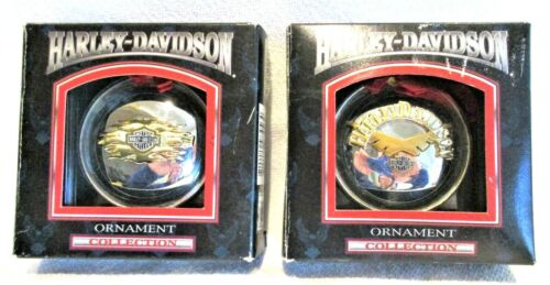 Harley Davidson Vintage Gas Cap Christmas Tree Ornaments Lot Of 2 w/Box Cavanagh